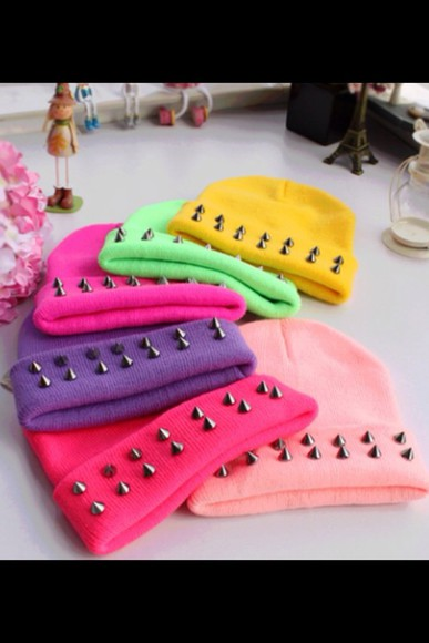 spikes hat bright colored beanies