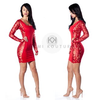 sheer red dress holiday dress new year's eve nye dress pigalle 120 loubiton kimikouture