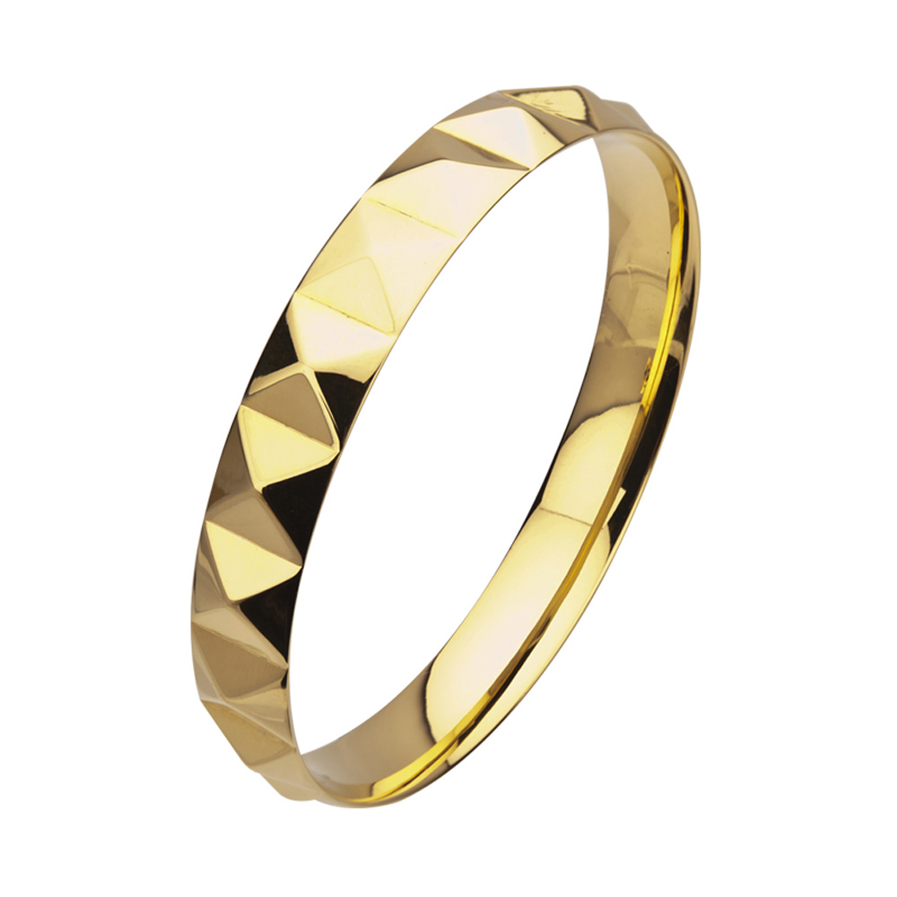 Gold Tone Pyramid Stud Stainless Steel Bangle Bracelet at FreshTrends.com