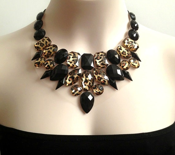 sexy leopard bib necklace, Wedding, prom, bridesmaids rhinestone statement necklace NEW