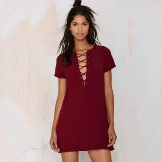 dress burgundy red dress criss cross fashion style trendy girly boogzel