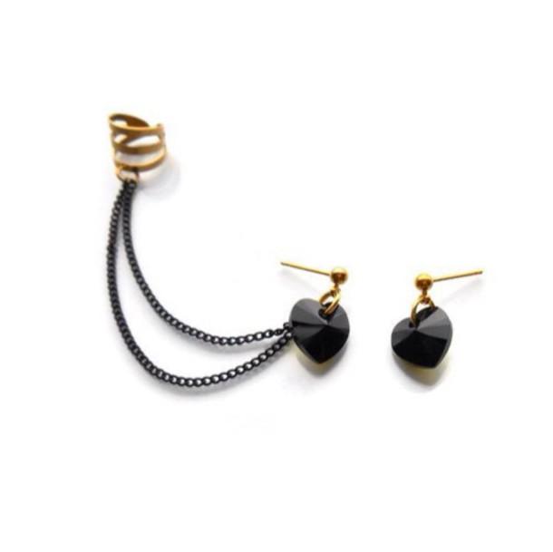 jewels black heart black earrings shape-heart