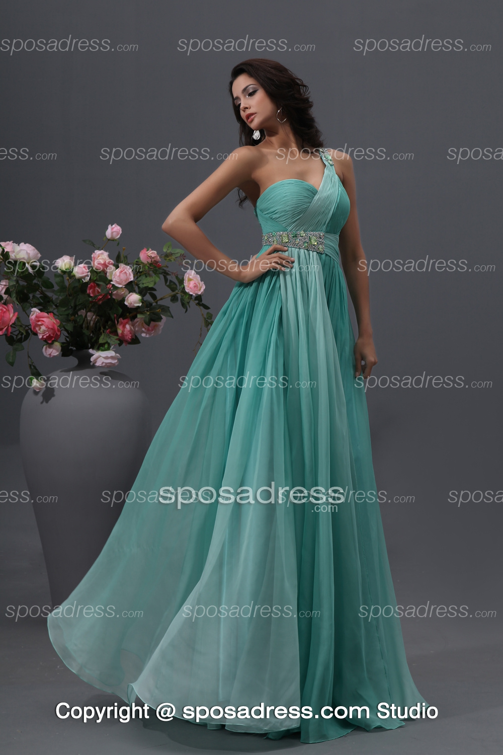 Stylish Jade A-line Sequined Chiffon Evening Dress With Onr Strap - Sposadress.com