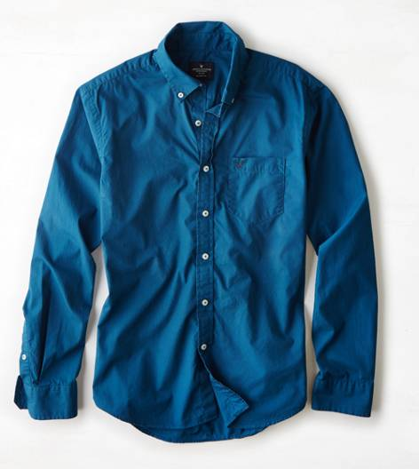 AEO Solid Poplin Button Down Shirt, Aqua Night | American Eagle Outfitters