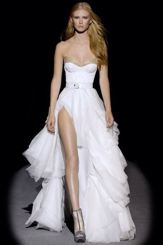 dress runway wedding dress wedding white dress bustier dress bustier wedding dress strapless dress side split frilly corset heels prom dress