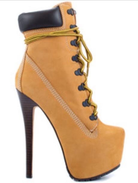 shoes timberlands heels platform lace up boots