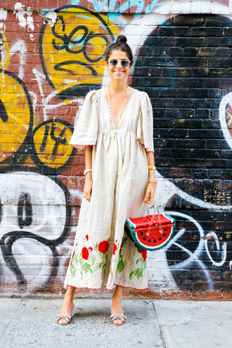 man repeller blogger dress shoes bag jewels sunglasses beige dress nude dress maxi dress bell sleeves flats round sunglasses embroidered dress embroidered v neck dress v neck plunge v neck basket bag red bag summer outfits slide shoes