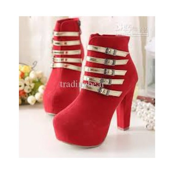 hot shoes back heel golden buckle