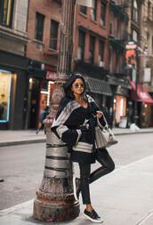 pants,tumblr,black pants,leather pants,black leather pants,sneakers,black sneakers,coat,stripes,bag,sunglasses