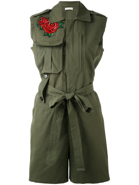 Each X Other - rose embroidered playsuit - women - Cotton - L, Green, Cotton