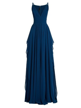 gown sleeveless silk blue dress