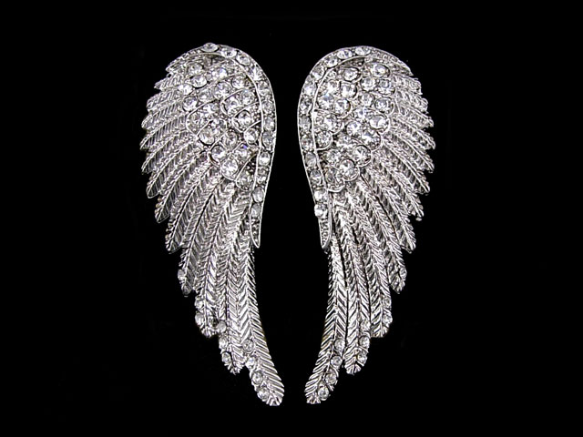 Huge Angel Wing 5 5cm Long Use Swarovski Crystal White Gold Plated Earrings | eBay