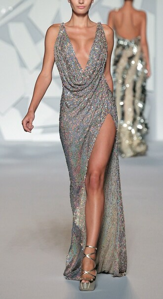 dress long dress sequins draped neckline high slit catwalk couture low neckline revealing metallic slit leg runway style fashion heels beaded beads