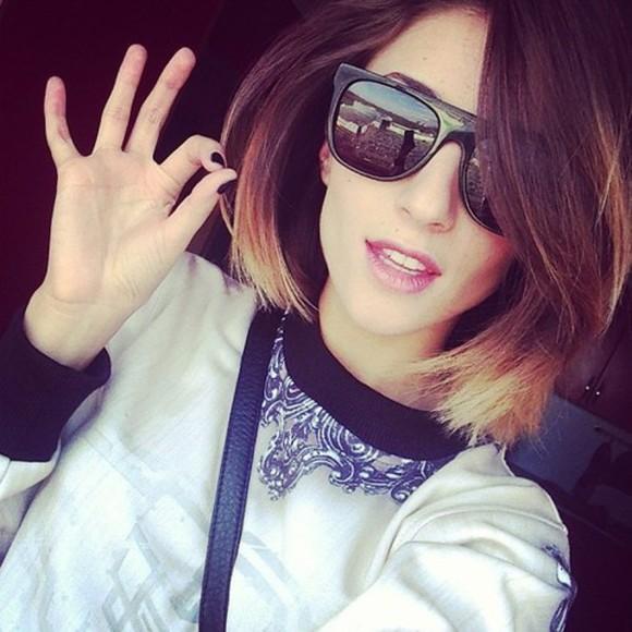 blouse blue shirt sunglasses