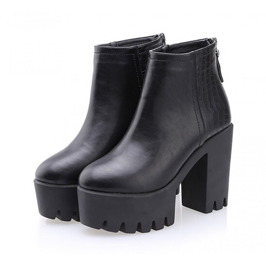 Crocodile Chunky Platform High Heel Boots