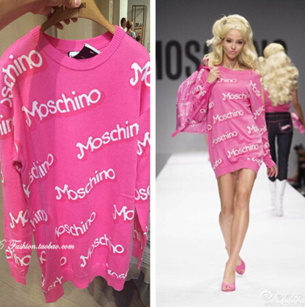barbie pink dress moschino jeremy scott blonde hair