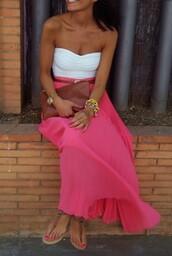 skirt,bright pink,long skirt,tank top,dress,pink and white,strappless,shirt,white,tube top,coral skirt,beachwear,golden chains,maxi skirt,pink,maxi dress,pink skirt,pink shirt