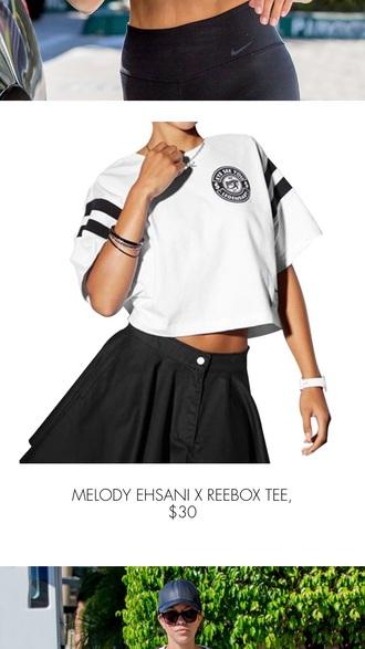 shirt reebok crop tops white and black tshirt
