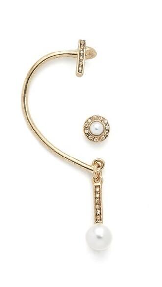 asymmetrical pearl earrings gold jewels
