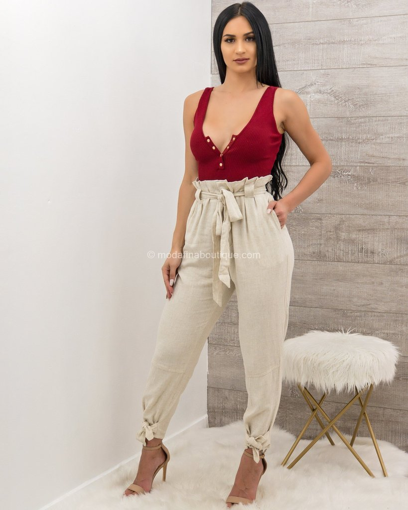 Blair Knotted Cuff Belted Pants