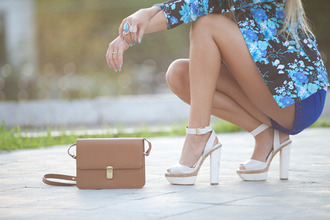 shoes heels white high wood fashion straps floral blue brown tan leather bag blazer jacket shorts ring