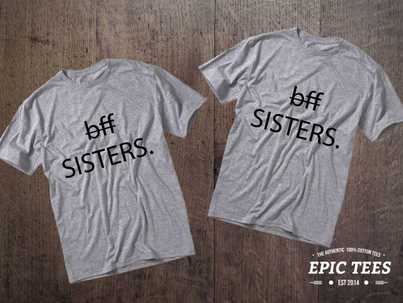 BFF Sisters Set of 2 Bff T-shirts, BFF Sisters Set of 2 Bff Shirts 100% cotton Tee, Gray, UNISEX