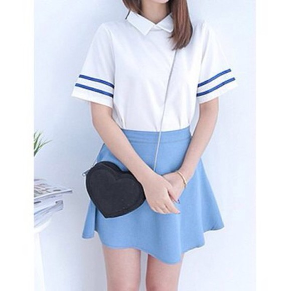baby blue light blue blouse sailor japanese cute collared shirts