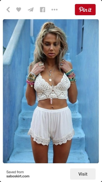 shorts high waisted shorts top two-piece outfit boho chic boho bohemian white white top white shorts crochet crop tops white crop tops