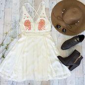 crochet,summer,spring,ootd,festival,coachella,vanessa hudgens,beach,beach dress,crochet dress,criss cross back,booties,boots,sun hat,sunnies,round sunglasses,boho dress,white dress
