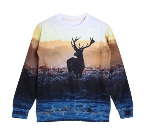 top deer long sleeve sweatshirt antlers www.ustrendy.com