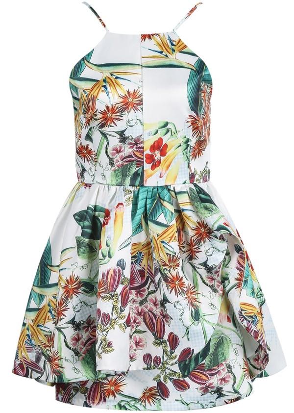 dress floral straps peplum colorful white dress fancy dress fancy pretty beautiful