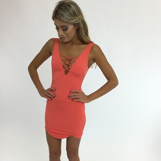 dress coral coral dress bodycon coral bodycon peppermayo