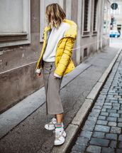 jacket,yellow jacket,puffer jacket,white sweater,midi skirt,wrap skirt,button up,white sneakers,platform sneakers