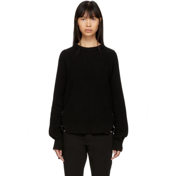 Helmut Lang Black Rib Strap Crewneck Sweater