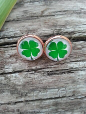 jewels,the glitzy hen,rose gold,gold earrings,stud earrings,4 leaf clover,st patrick's day,shamrock
