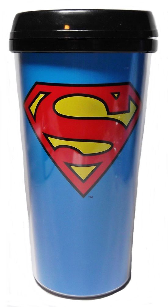"Dc comics superman ""s"" logo 16oz plastic travel mug w lid"