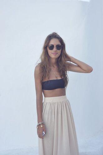 skirt summer skirt flowy beige skirts