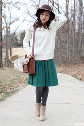 skirt,teal,pleated skirt,bag