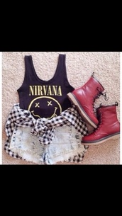 shirt,jacket,shorts,nirvana tank,red boots,checkered cardigan,acid washed high waisted shorts,cute,scarf