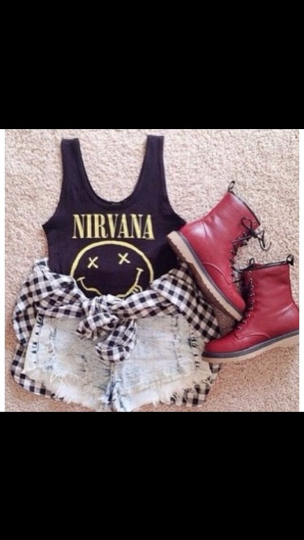 shirt jacket shorts nirvana tank red boots checkered cardigan acid washed high waisted shorts cute scarf
