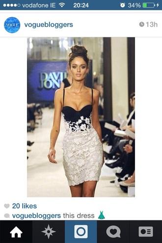 dress white lace on top black on bottom fashion sexy dress