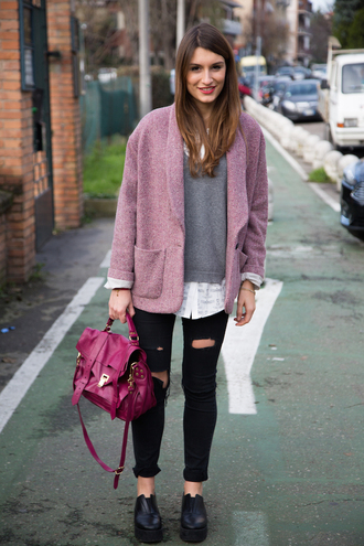 style and trouble blogger coat satchel bag grey sweater ripped jeans creepers
