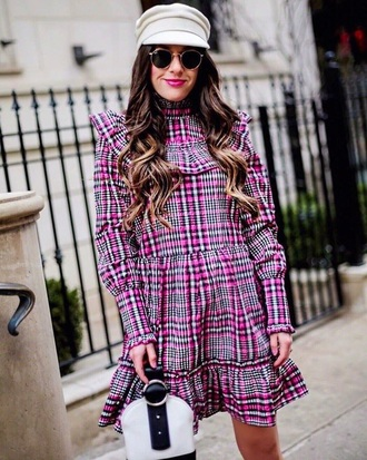 dress plaid plaid dress pink dress fisherman cap tartan dress tartan mini dress long sleeve dress hat sunglasses bag handbag