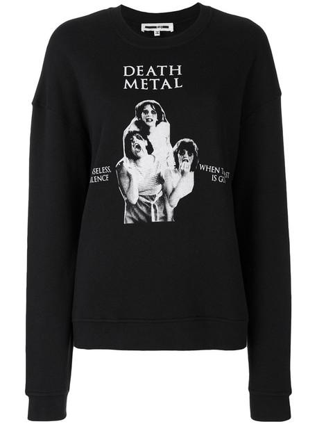 McQ Alexander McQueen - death metal print sweatshirt - women - Cotton/Polyester - S, Black, Cotton/Polyester