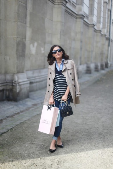trench coat blogger bag jeans ballet flats frassy blouse sunglasses striped sweater