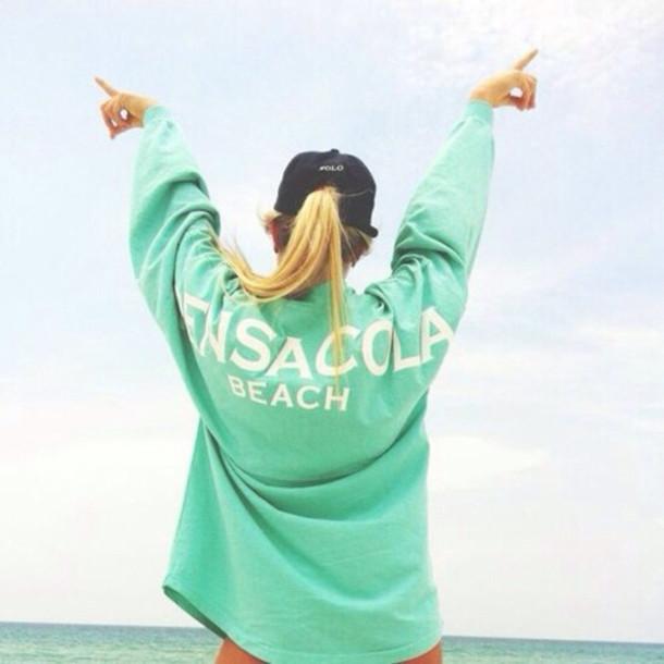 shirt beach sweater blonde hair light blue perfect