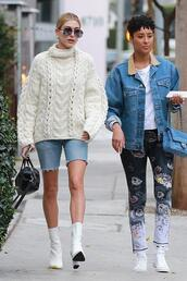 shoes,ankle boots,sweater,turtleneck sweater,hailey baldwin,model off-duty,streetstyle,celebrity,fall outfits,sunglasses,denim,denim shorts