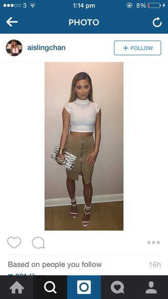 skirt top white style zip clutch heels dress white crop tops