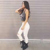 jeans,high waisted,high waisted skinny jeans,white,pants,top,ripped jeansw,hite jeans,combat boots,crop tops,graphic shirt,blouse,shoes,highwaisted white jeans,modern,tank top,grey crop top,grey tank top,white jeans,high waisted jeans,outfit,summer,summer outfits,boho,hipster,girly,trendy,ripped jeans,eagle,brunette,happy,cut offs,pretty,cute shirt,shirt,boots,style,fashion,lace up,skinny pants,skinny jeans