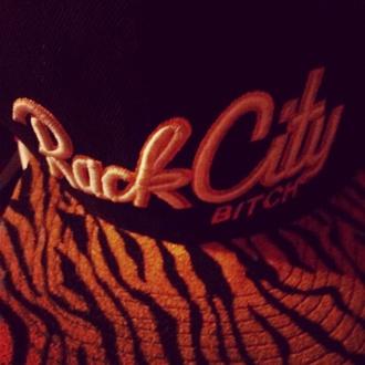 black hat striped hat orange hat
